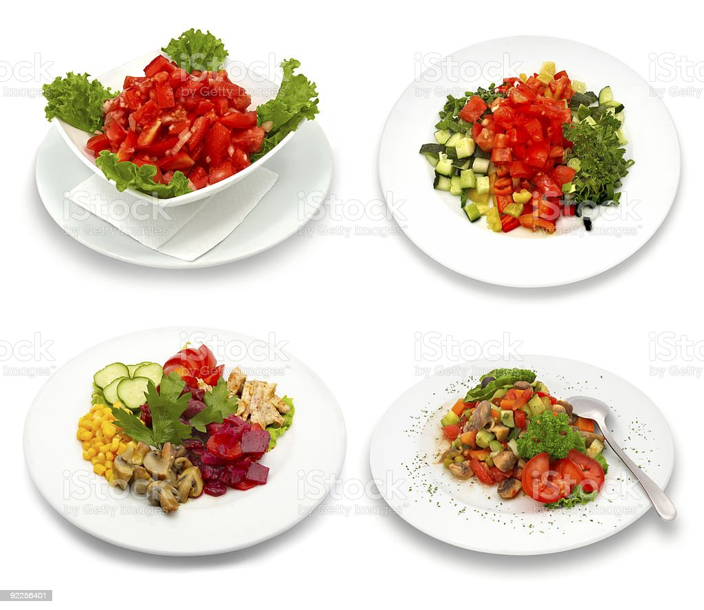 four salad dishes royalty-free stock photo