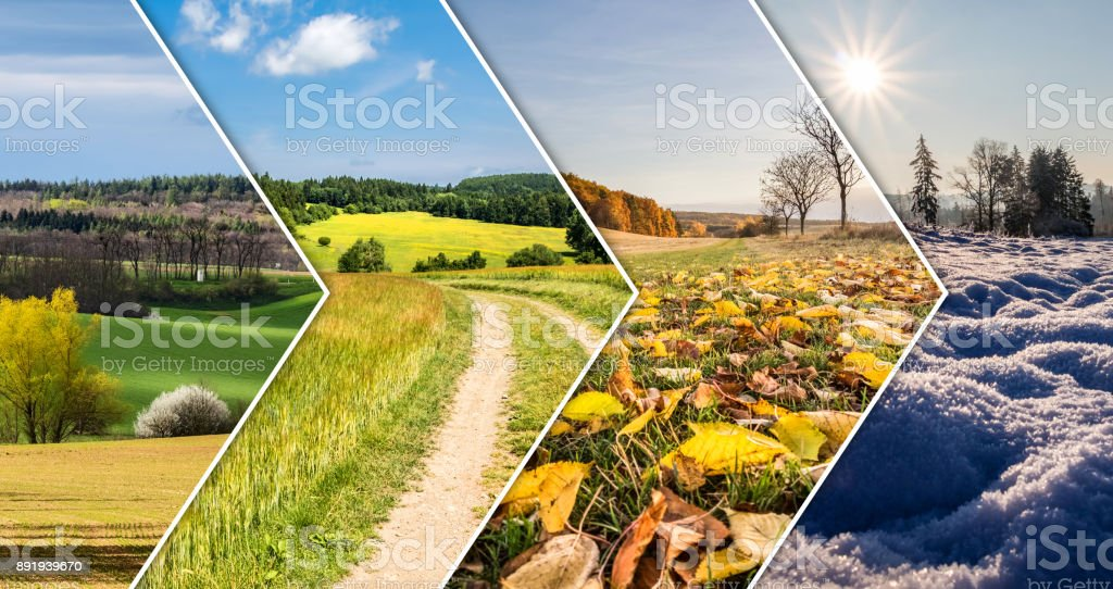 Four season collage from arrow banners stock photo