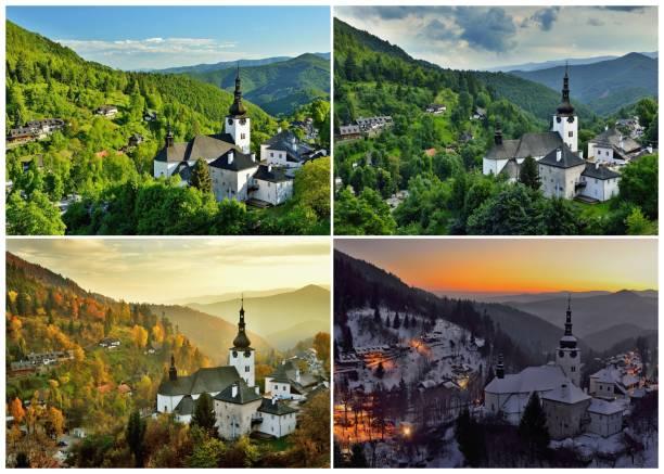 four season in old mining village - four seasons zdjęcia i obrazy z banku zdjęć