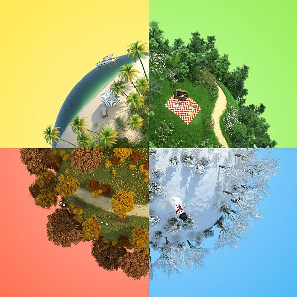 four season miniature globe - four seasons stock photos and pictures