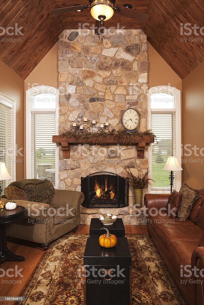Four Season Porch Addition In Residential Home Stock Photo