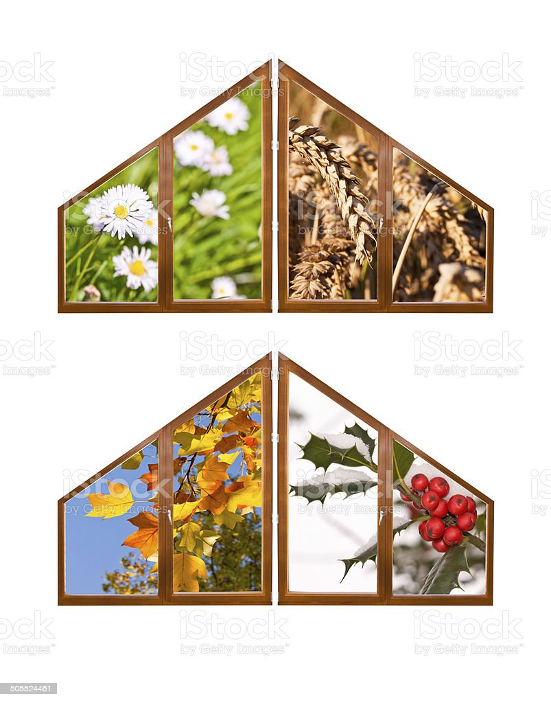 Four Seasons Collage Concept With Windows Isolated On White
