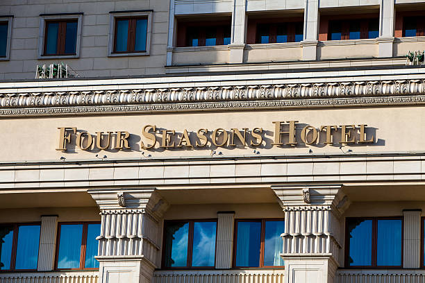 Four Seasons Hotel sign in Moscow, Russia – Foto