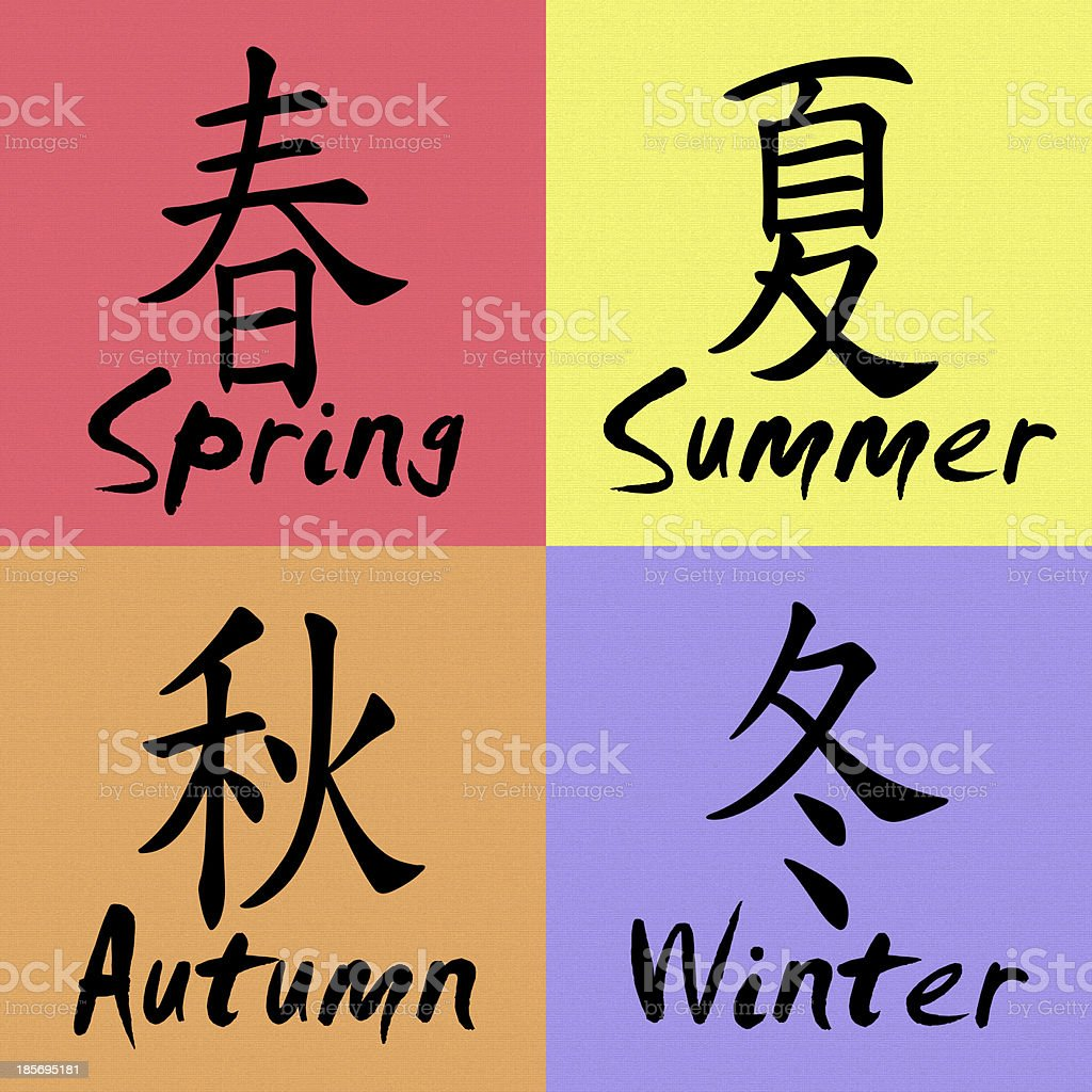 four seasons in chinese and english stock photo  download
