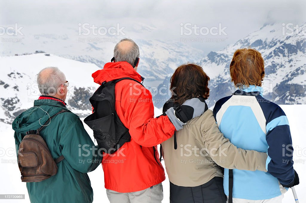 Four Senior Skiers Looking At Mountain Range royalty-free stock photo