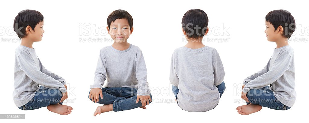 Four sides of boy siting on white background stock photo