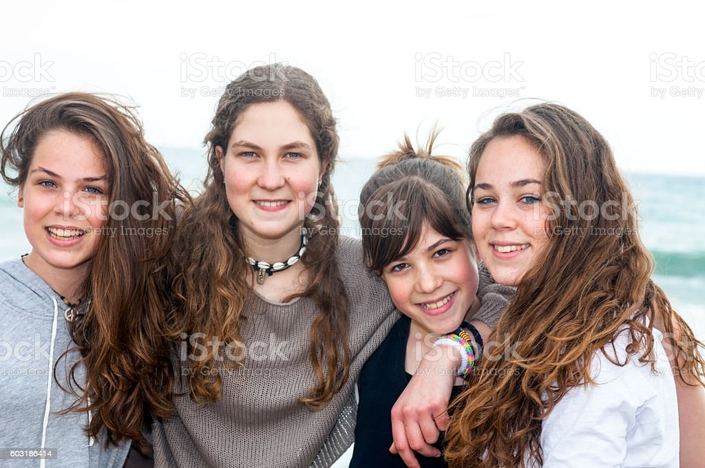Four sisters stock photo