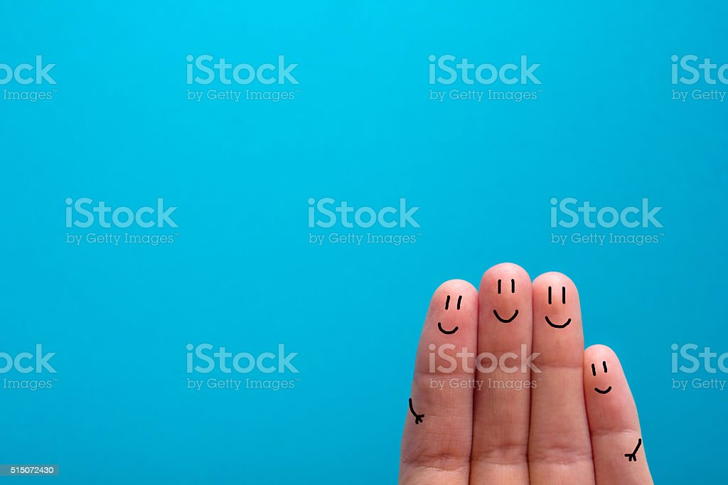 four smiling fingers that are very happy to be friends stock photo
