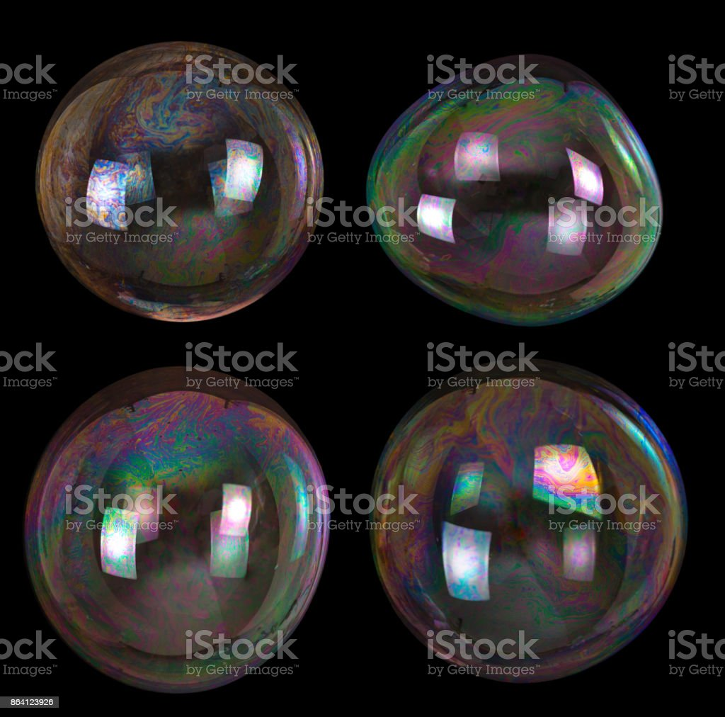 four soap bubbles collection on black royalty-free stock photo