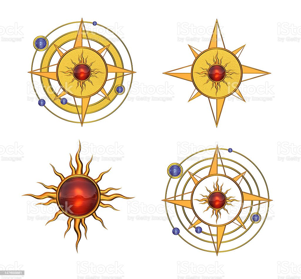 Four Solar Astral Symbols stock photo