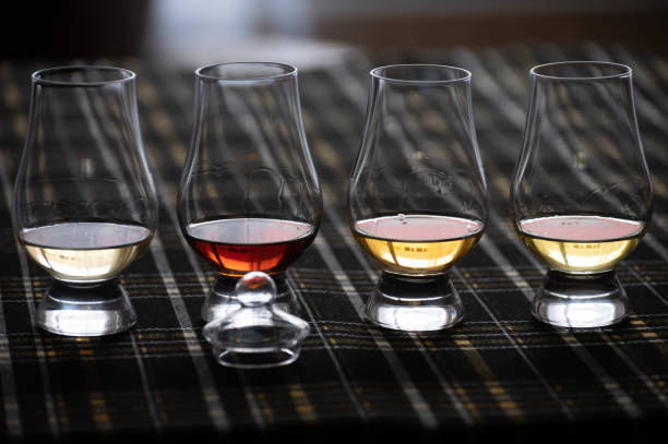 four special tulip-shaped glasses for tasting of scotch whisky on distillery in scotland, uk and dark tartan - assaggiare foto e immagini stock