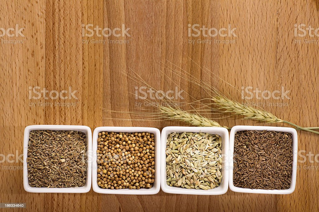 Four spices with ears above royalty-free stock photo