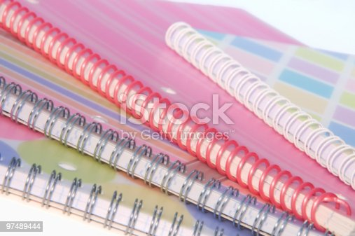 Four Spiral Bound Notebooks Stock Photo & More Pictures of Blue