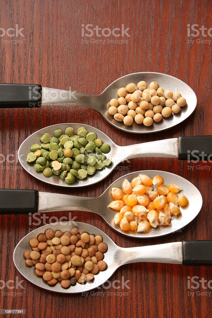Four Spoons with Dried Seeds royalty-free stock photo