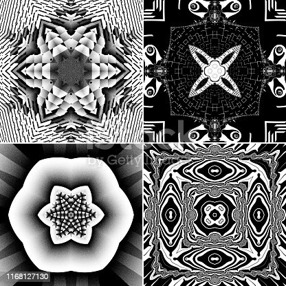 These four separate square tiles each comprise a fractal render, based on putting a mathematical creation through a kaleidoscope process that results in symmetrical patterns. Each design exhibits 6- or 4-fold symmetry. The images are in black and white.