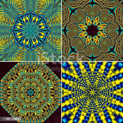 These four separate square tiles each comprise a fractal render, based on putting a mathematical creation through a kaleidoscope process that results in octagonal. Each design exhibits 8-fold symmetry. These colour images are based mostly on gold and topaz blue.
