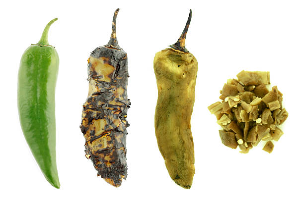 four stages of a green chile - green chilli pepper stock photos and pictures