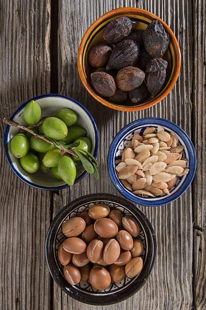 Four stages of Argan fruits stok fotoğrafı