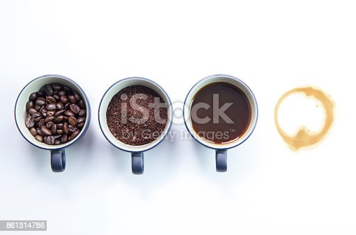 istock Four stages of coffee isolated on white background 861314786