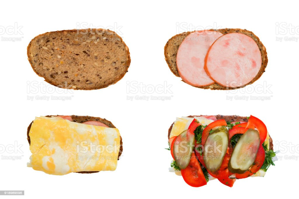 Four stages of creating a sandwich stock photo