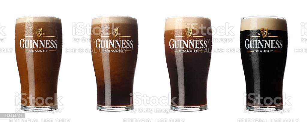 Four stages  of Guinness stock photo