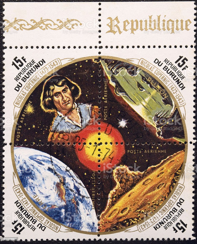 four stamps of postages devoted  Nicolaus Copernicus stock photo