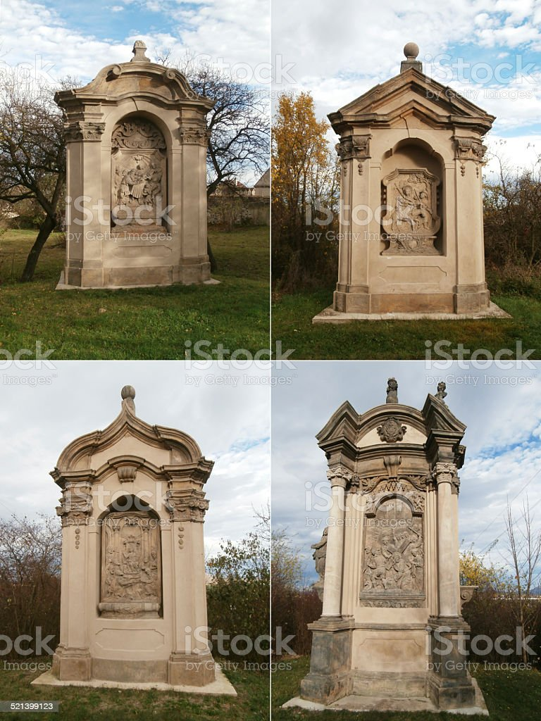 Four stations of the Cross at the Church Vtelno stock photo