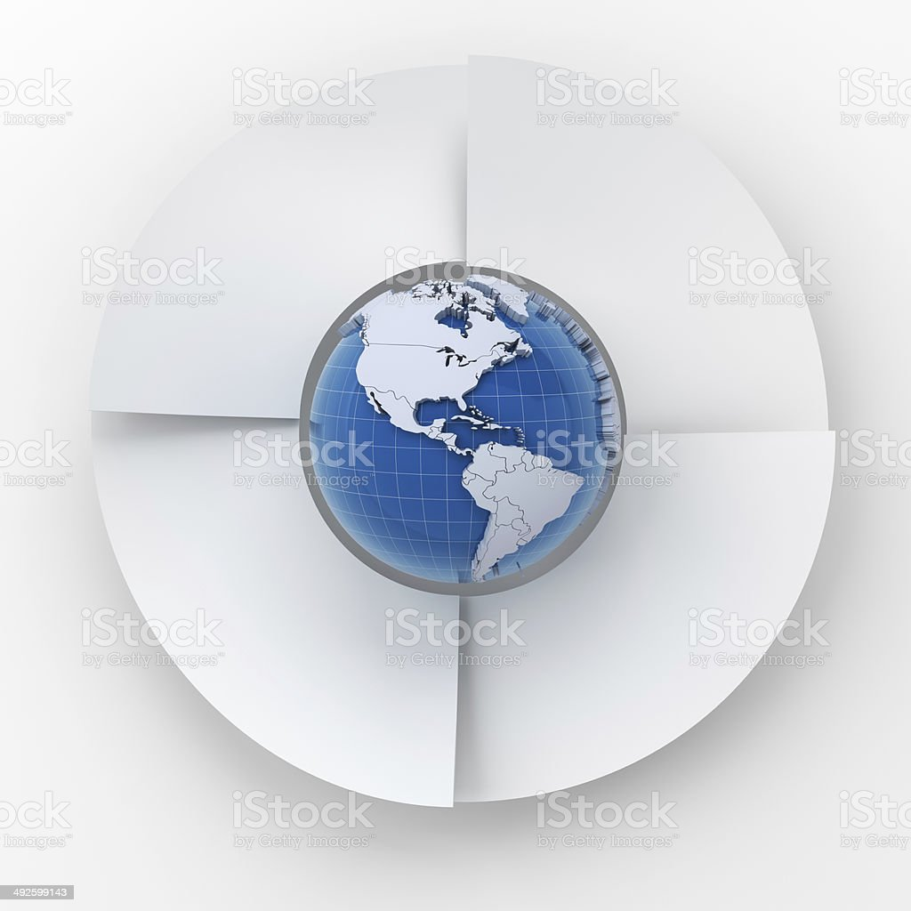 Four steps circle infographic chart with globe, 3d render stock photo