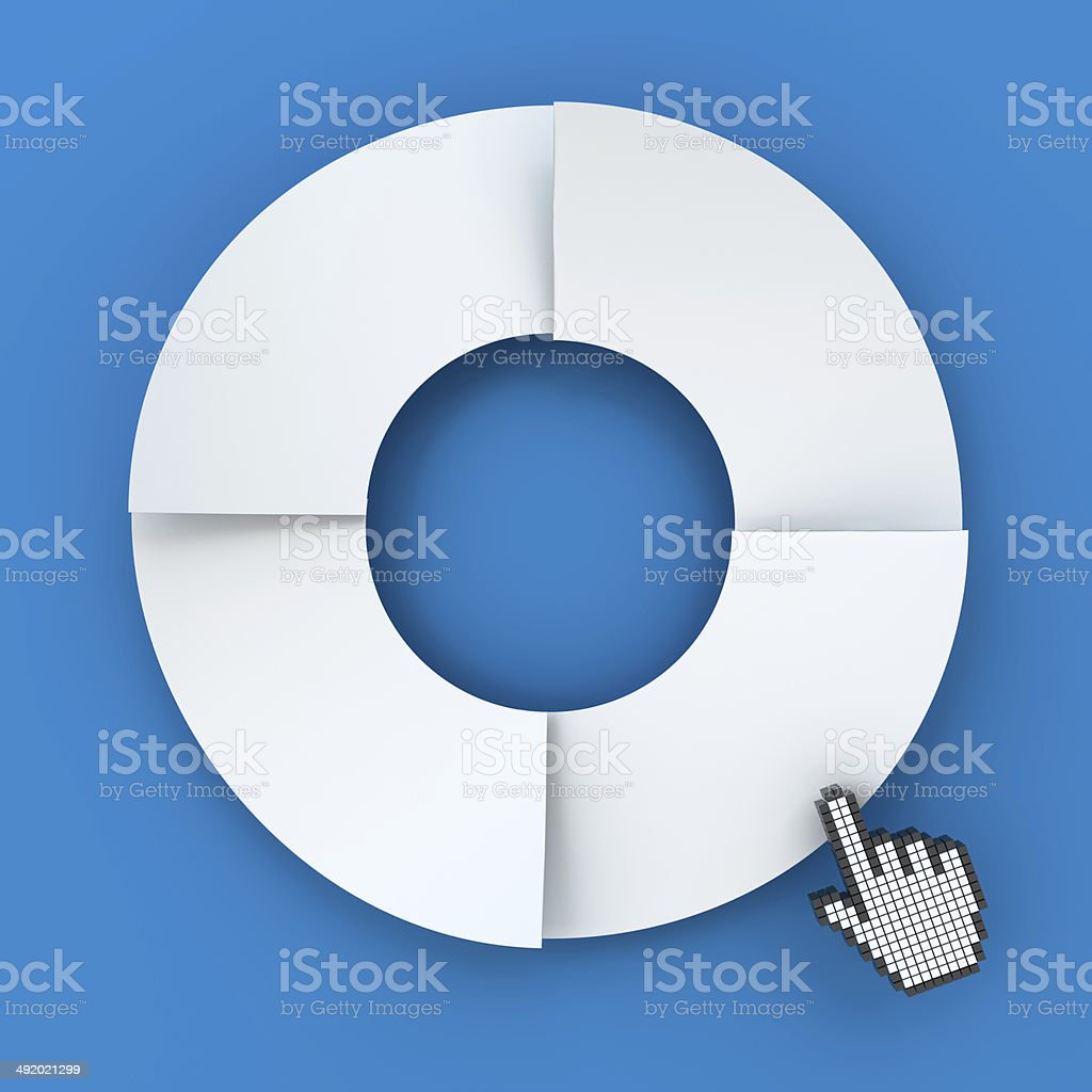 Four steps circle infographic chart with hand cursor, 3d render stock photo