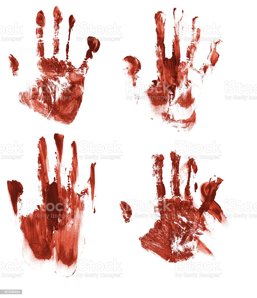Four streaked bloody red hand prints of right hand stock photo