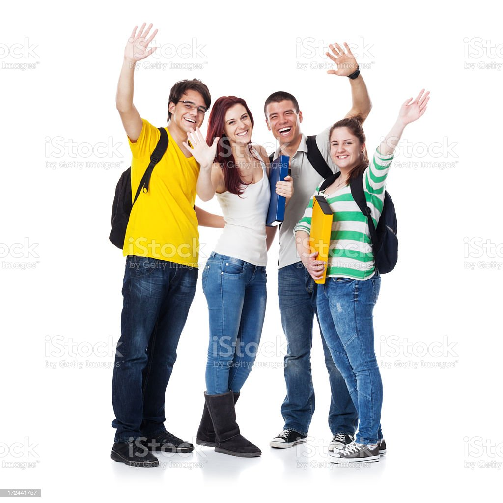 Four  Students smiling and hand wave royalty-free stock photo