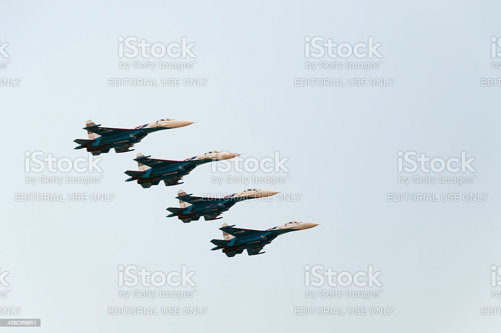 Four Su-27 (Flanker) fighters of The Russian Knights aerobatic team royalty-free stock photo