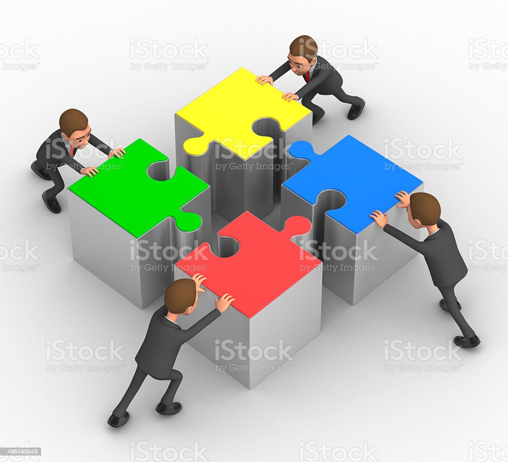 four successful businessman with puzzles stock photo
