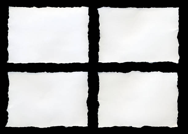 four torn pieces of paper on a black background - rivet papper bildbanksfoton och bilder