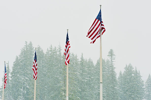 Four US Flags at Mt. Hood Meadows stock photo