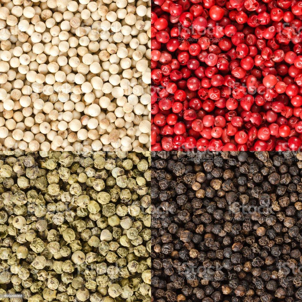 Quatre variantes de grains de poivre dans un carré - Photo