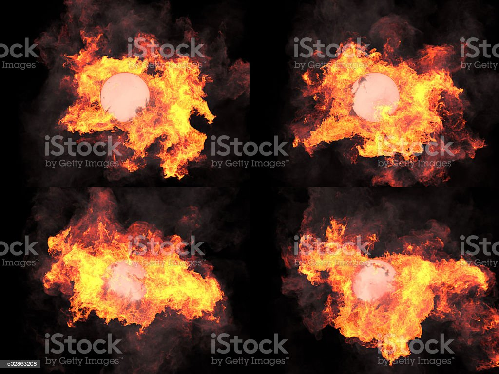 four versions. Sphere in fire stock photo