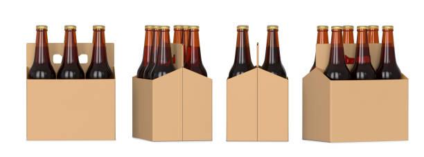quatre points de vue d'un pack de six bouteilles de bière brune en carton. rendu 3d, isolé sur fond blanc. - pack de six photos et images de collection