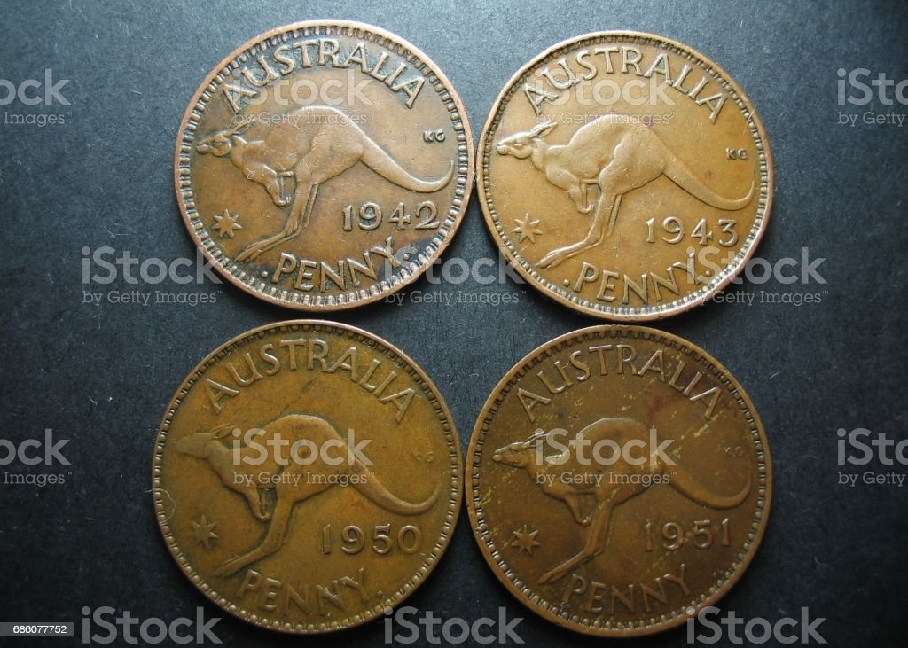Four Vintage Australian One Penny Coins Reverse Side With Kangaroo