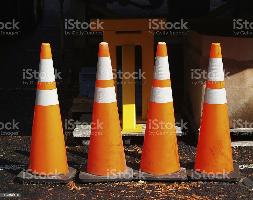 Four Warning Cones stock photo