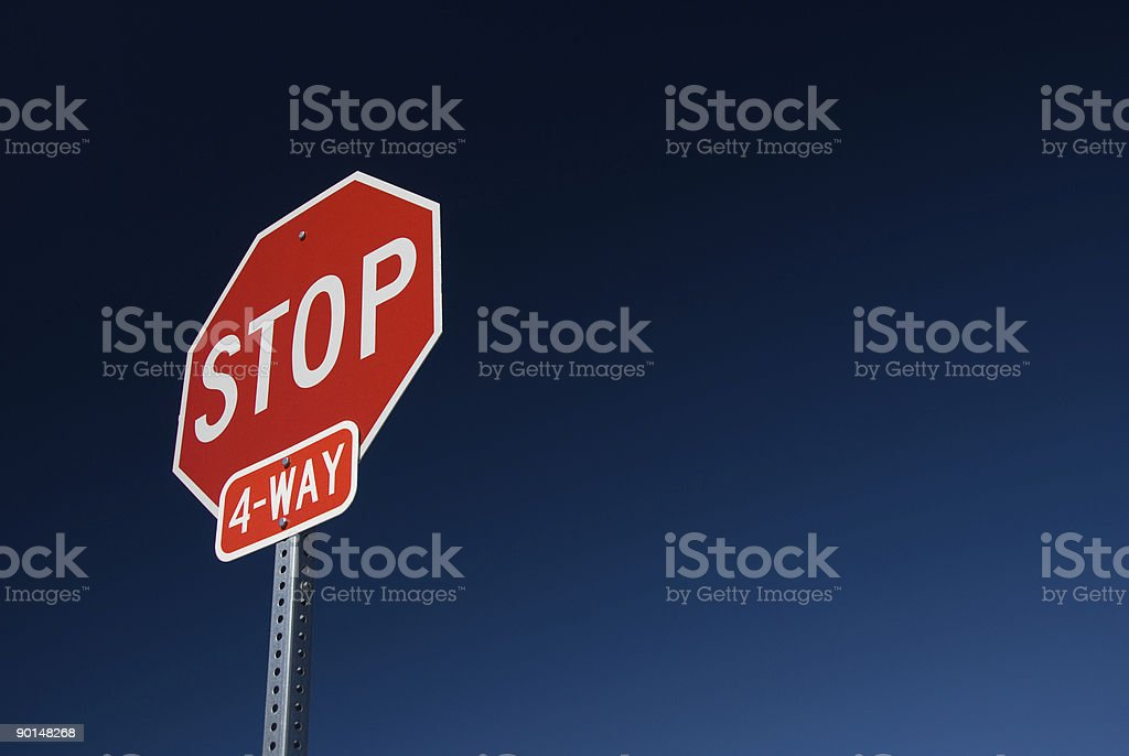 Four way stop sign royalty-free stock photo