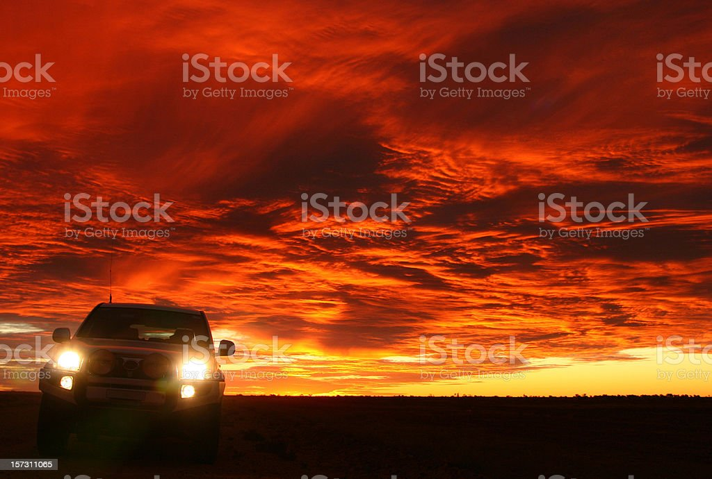 Four Wheel Drive at Sunset stock photo