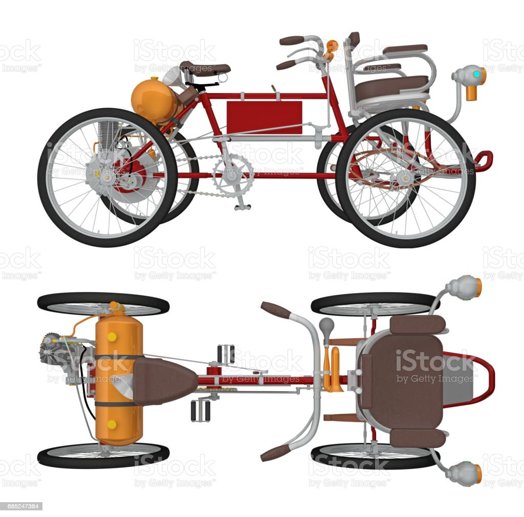 Four wheeled cycle isolated on white 3d rendering royalty-free stock photo