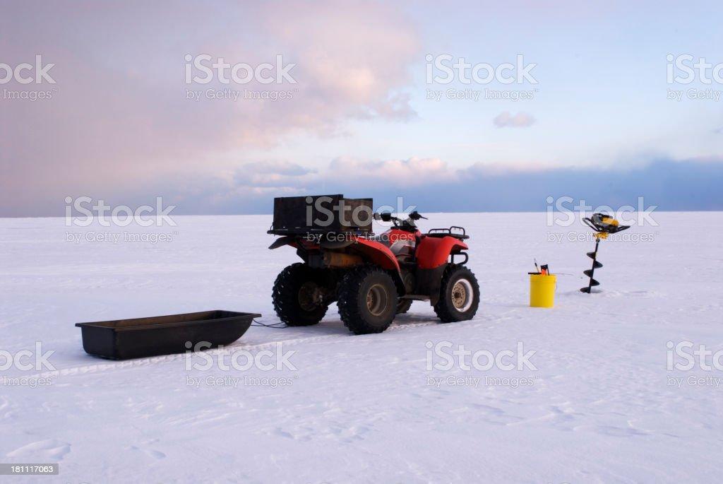 Four wheeler Ice Fishing royalty-free stock photo