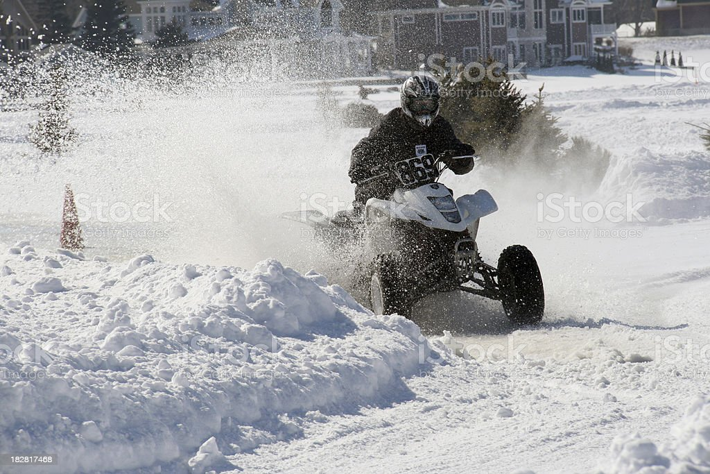 Four wheeler in ice race on lake.  Indiana royalty-free stock photo