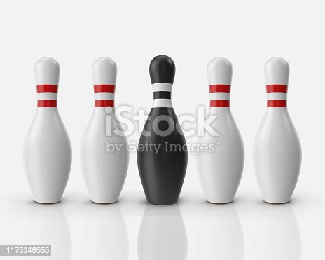 Four white and one black bowling pins isolated on white background. Bowling pins illustration 3D. Sport game concept. Pins with red stripes. Illustration stock.