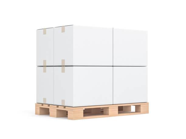 Maquette de quatre boîtes de carton blanc sur europalette en bois - Photo