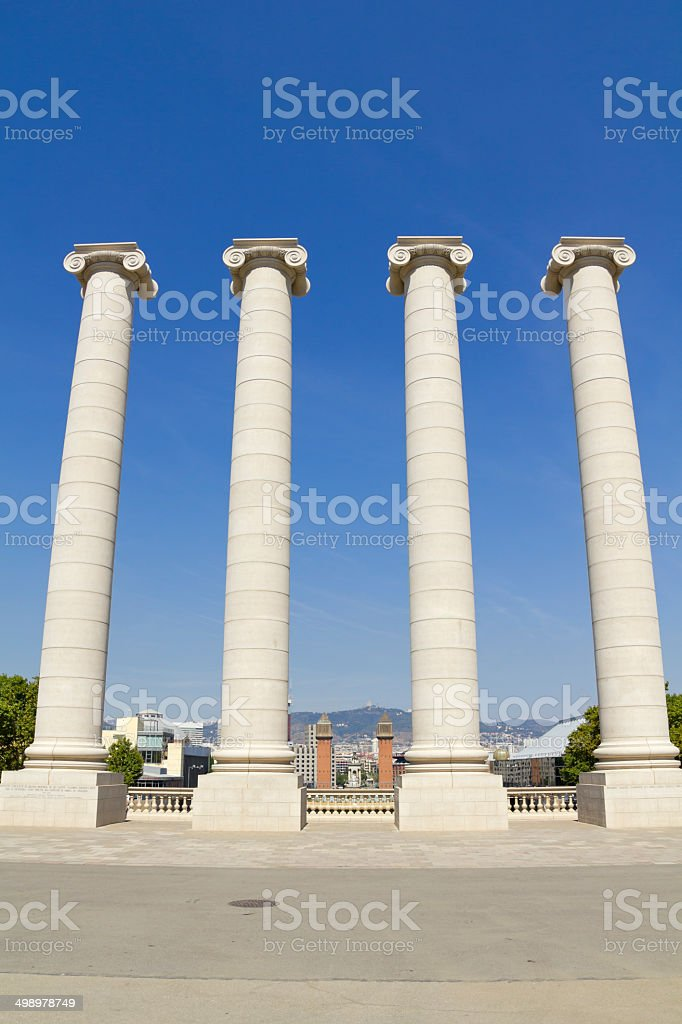Four white columns, Barcelona royalty-free stock photo