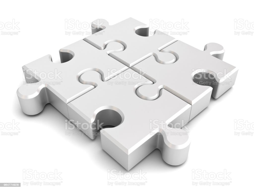 Four White jigsaw puzzle pieces isolated on white background with shadow 3D rendering royalty-free stock photo