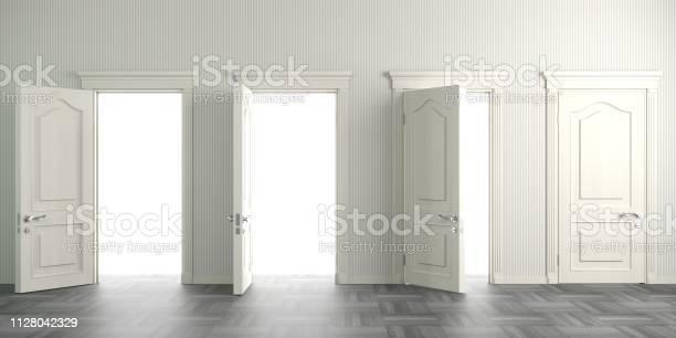 Four white open doors on the wall picture id1128042329?b=1&k=6&m=1128042329&s=612x612&h=3ml qzpvm7o05cclih4rxqwv vh erdwmhpr5wxwsqa=